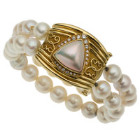 Diamond, Cultured Pearl, Mabe Pearl, Gold Bracelet, Robert Whiteside