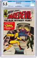 Silver Age (1956-1969):Superhero, Daredevil #3 (Marvel, 1964) CGC FN- 5.5 Off-white to whitepages....