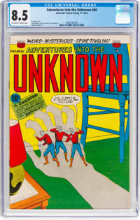 Adventures Into The Unknown #60 (ACG, 1954) CGC VF+ 8.5 Off-white to white pages