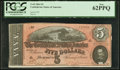 Confederate Notes:1864 Issues, T69 $5 1864 PF-10 Cr. 564 PCGS New 62PPQ.. ...