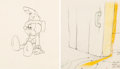 Animation Art:Production Drawing, Fantasia Mickey Mouse as The Sorcerer's Apprentice AnimationDrawings Group of 2 (Walt Disney, 1940)....