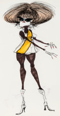"Animation Art:Production Drawing, Tim Burton ""Mod Girl in White Go-Go Boots"" Illustration (c.1978-80)...."