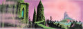 Animation Art:Painted cel background, Sleeping Beauty Two Castles Color Key Background Painting byEyvind Earle (Walt Disney, 1959)....