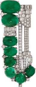 Estate Jewelry:Brooches - Pins, Emerald, Diamond, Platinum, White Gold Clip-Brooch. ...