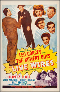 """Live Wires (Monogram, 1946). One Sheet (27"""" X 41""""). Comedy. From the Collection of Frank Buxton, of which the..."""