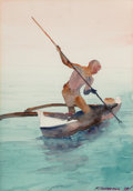 Fine Art - Painting, American, Frederic Soldwedel (American, 1886-1957). Spear Fisherman,1929. Watercolor on paper. 20-3/4 x 14-1/2 inches (52.7 x 36....