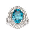 Estate Jewelry:Rings, Zircon, Diamond, White Gold Ring, Sarosi. ...