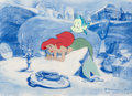 Animation Art:Production Cel, The Little Mermaid Flounder and Ariel Production Cel withKey Master Background Layout Drawing (Walt Disney, 1989)....