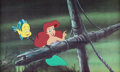 Animation Art:Production Cel, The Little Mermaid Flounder and Ariel Production Cel (WaltDisney, 1989)....