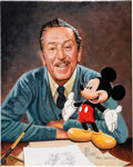 Animation Art:Production Drawing, Walt Disney and Mickey Mouse Painting by Paul Wenzel (Walt Disney,c. 1990s-2000s)....