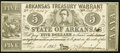 Obsoletes By State:Arkansas, Little Rock, AR- State of Arkansas $5 Aug. 14, 1863 Cr. 48C About Uncirculated.. ...