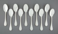 Silver & Vertu:Flatware, A Set of Ten Christofle Perles Pattern Silver-Plated Sauce Spoons, Paris, designed 1876, manufactured 20th centu... (Total: 10 Items)