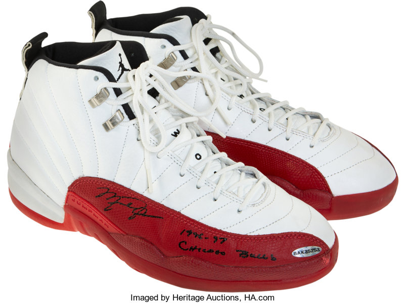 95ca4bd2241 ... Autographs:Bats, 1996-97 Michael Jordan Game Worn & Signed Air  Jordan ...