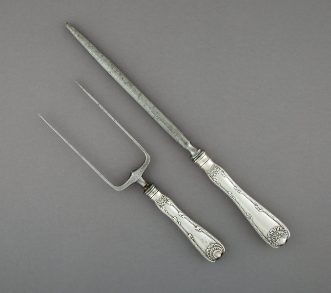 A Tiffany & Co  Wave Edge Pattern Silver and Steel Roast Fork   Lot