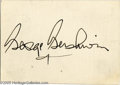 "Music Memorabilia:Autographs and Signed Items, George Gershwin Autograph. Offered is a large, bold fountain pensignature on a white 3.5"" x 2.5"" card, accompanied by a typ..."