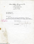 Music Memorabilia:Autographs and Signed Items, Jimi Hendrix Signed Letter. Featured is a typed letter frompsychedelic rocker Jimi Hendrix to his management company, dated...