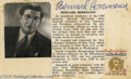 Music Memorabilia:Autographs and Signed Items, Bernard Herrmann Signed Card. While he wrote for virtually everybranch of the musical theater (ballet, concert hall, opera)...