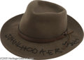 Music Memorabilia:Costumes, John Lee Hooker Signed Hat. Rarely seen without one, a fedora wasalmost as important to blues pioneer John Lee Hooker as hi...