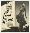 Music Memorabilia:Autographs and Signed Items, Lena Horne Signed Program. Singer-actress Lena Horne's primaryoccupation was nightclub entertaining, a profession she pursu...