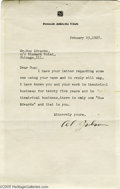 "Music Memorabilia:Autographs and Signed Items, Al Jolson Signed Letter. Here is a letter typed on ""DetroitAthletic Club"" stationery from legendary jazz singer Al Jolson t..."