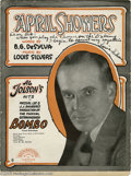 "Music Memorabilia:Autographs and Signed Items, Al Jolson Signature Sample with ""April Showers"" Sheet Music Signedby Louis Silvers. Singer Al Jolson achieved pre-eminent s... (2Items)"
