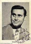 "Music Memorabilia:Autographs and Signed Items, George Jones Vintage Signed Photo. This 5"" x 7"" black-and-whitephoto is signed and inscribed by one of country music's true..."