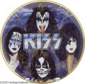 Music Memorabilia:Autographs and Signed Items, KISS Signed Commemorative Plate. Limited edition commemorativeplate signed by founding members Ace Frehley, Gene Simmons, P...