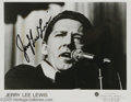 "Music Memorabilia:Autographs and Signed Items, Jerry Lee Lewis Signed Record and Photograph. A copy of the SunRecords 45 single ""Breathless"" and a promotional picture of ..."