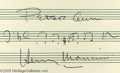 Music Memorabilia:Autographs and Signed Items, Henry Mancini Signed Music Quote. One of the great Americancomposers, Henry Mancini wrote memorable scores to such movies a...