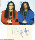 Music Memorabilia:Autographs and Signed Items, Milli Vanilli Signed Card with Photograph. When dance-pop duo MilliVanilli's brief-but-stellar career came to a sudden, gri...
