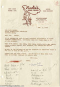 Music Memorabilia:Autographs and Signed Items, Nudie Cohn Signed Letter. Dated December 4, 1956, signed byrodeo-tailor-to-the-stars Nudie Cohn, and addressed to Col. Tom ...