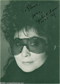 "Music Memorabilia:Autographs and Signed Items, Yoko Ono Signed Photograph. A signed 3"" x 5"" photo of the musicianand former wife of ex-Beatle John Lennon. With COA from..."
