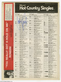 """Music Memorabilia:Autographs and Signed Items, Johnny Paycheck Signed Billboard Chart. Billboard Hot CountrySingles chart dated January 14, 1978, with """"Take This Job ..."""
