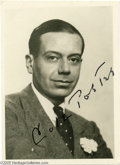 """Music Memorabilia:Autographs and Signed Items, Cole Porter Signed Photograph. Size doesn't matter, as this photowill attest. It may only be roughly 2"""" x 4"""" but it bears t..."""
