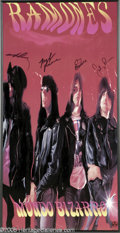 "Music Memorabilia:Posters, Ramones Signed Poster. A framed promotional poster for their 1992album ""Mondo Bizarro,"" signed by Joey, Marky, C. J., and J..."