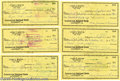 Music Memorabilia:Autographs and Signed Items, Jim Reeves Personal Checks. Six checks written on Reeves' personalaccount, all dated September 27, 1954, and signed by Reev...
