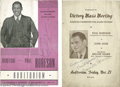 Music Memorabilia:Autographs and Signed Items, Paul Robeson Signed Programs. Two programs for live performances bybaritone Paul Robeson, one dated November 21, the other ...