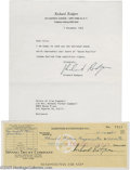 Music Memorabilia:Autographs and Signed Items, Richard Rodgers Mini-Archive. Collection of signed documentsfeaturing a one-page typed, signed letter to the estate of scri...