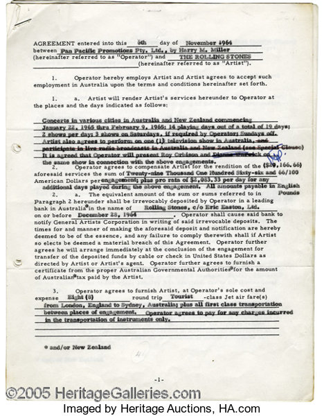 Mick Jagger Signed Document A Six Page Agreement Between Lot