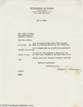 """Music Memorabilia:Autographs and Signed Items, Theodore Steinway Signed Letter. Offered is a one-page, 8.5"""" x 11""""typed letter on Steinway & Sons letterhead, dated May 3, ..."""