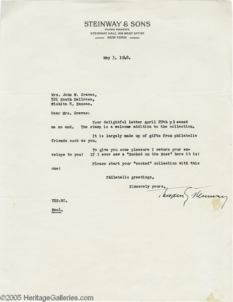 theodore steinway signed letter offered is a one page 8 5 x lot