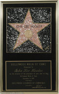 "Music Memorabilia:Awards, John Lee Hooker's ""Hollywood Walk of Fame"" Award. Here is the awardpresented to Hooker on September 11, 1997, by the Hollyw..."