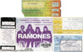 Music Memorabilia:Autographs and Signed Items, Five Ramones Ticket Stubs (One Signed). Featured in this lot areticket stubs from various performances: a September 29, 198...