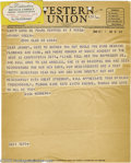 """Music Memorabilia:Miscellaneous, Richard Rodgers Telegram to Johnny Green. Here is a nifty item: anunsigned Western Union telegram from composer Richard """"Di..."""