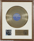 "Music Memorabilia:Awards, Mick Jagger ""Hot Rocks"" Gold Record Sales Award. Presented toJagger to commemorate $1 million in sales for the 1972 Rolling..."