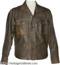 Music Memorabilia:Costumes, Glen Campbell Leather Jacket. The Rhinestone Cowboy's brown leather jacket designed by Robert Lewis, with a handwritten COA ...