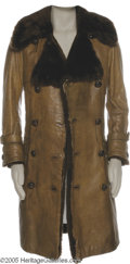 Music Memorabilia:Costumes, Roger Daltrey Worn Leather Coat. Best known as the charismatic frontman of the Who, Roger Daltrey also forged a parallel sol...
