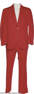 Music Memorabilia:Costumes, Charlie Louvin- Red Two Piece Western Style Suit. Charlie was halfof the harmonizing Louvin Brothers, major hitmakers of th...