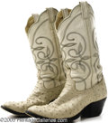 Music Memorabilia:Costumes, Mel McDaniel Autographed White Ostrich Cowboy Boots. Mel McDaniel has certainly achieved success in the country music indust...