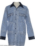 "Music Memorabilia:Costumes, Snoop Dogg Paisley Jacket. Here is a light blue paisley jacket wornby singer and pop culture icon Snoop Dogg in his video ""..."